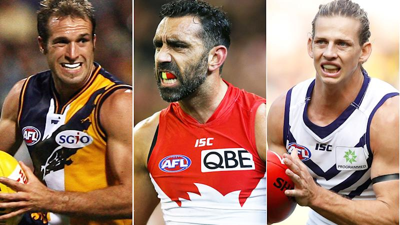 Chris Judd, Adam Goodes and Nat Fyfe are pictured in a split image.