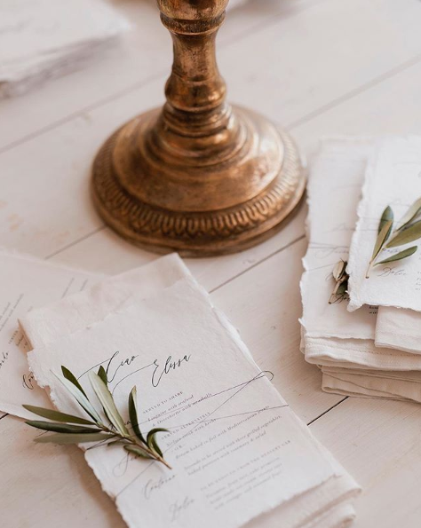 <p>The pair had their wedding menu created by the masterminds behind their invites. Source: Instagram/AnnaHeinrich </p>