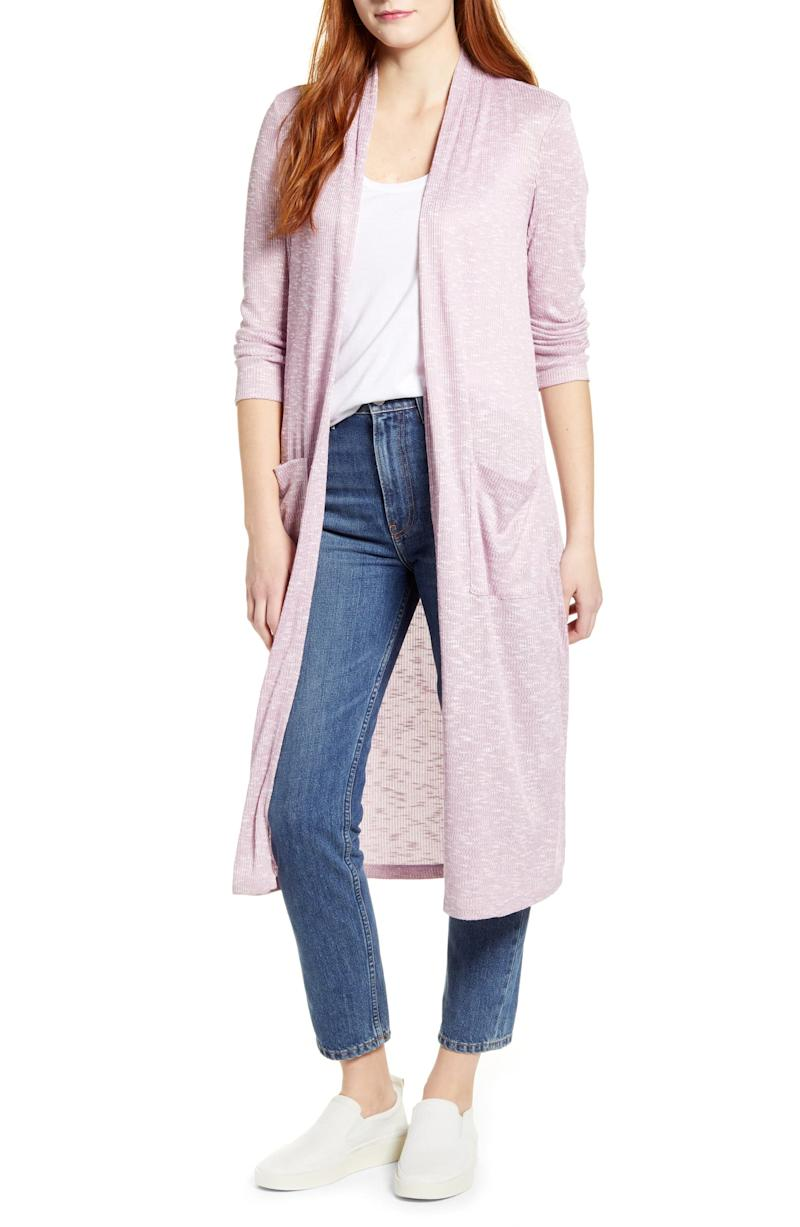 Bobeau Ribbed Knit Long Cardigan in lavender.