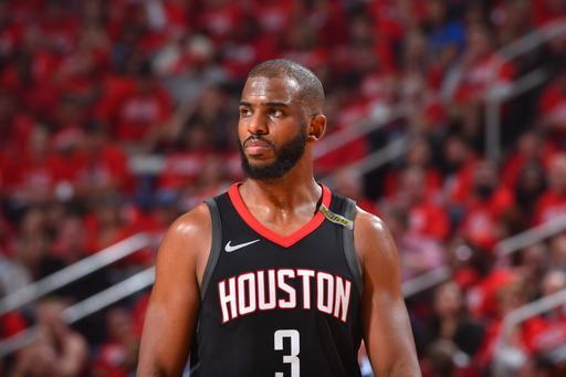 HOUSTON, TX - MAY 24: Chris Paul #3 of the Houston Rockets looks on in Game Five of the Western Conference Finals against the Golden State Warriors during the 2018 NBA Playoffs on May 24, 2018 at the Toyota Center in Houston, Texas. (Photo by Jesse D. Garrabrant/NBAE via Getty Images)