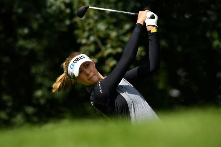 American Nelly Korda shot to the top of the leaderboard during the first round of the Women's British Open on Thursday