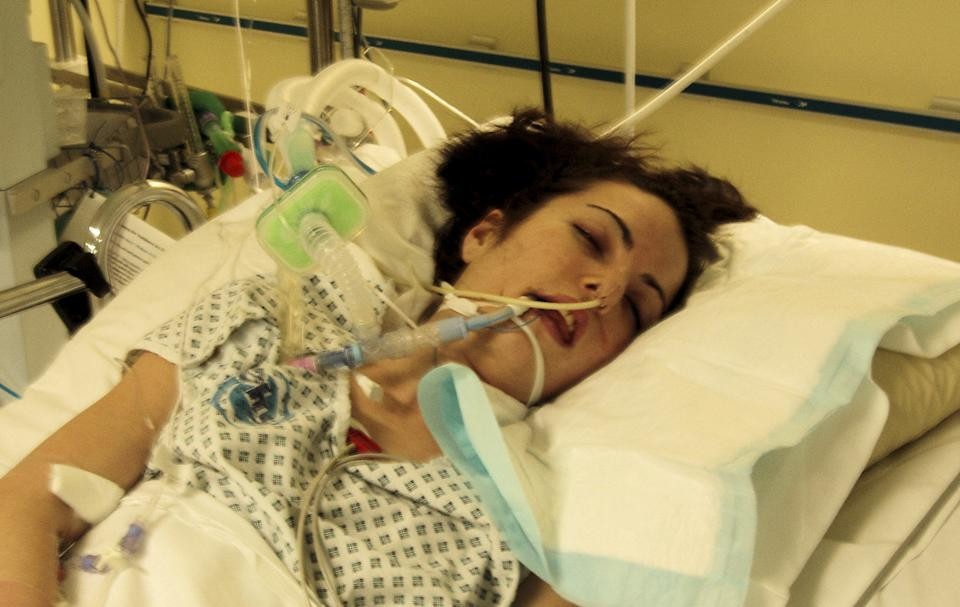 Tracey Okines has locked-in syndrome following a gymnastics accident in 2008. (SWNS)
