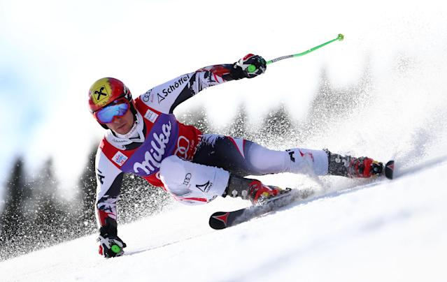 Austria's Marcel Hircsher competes during the first run of an alpine ski, men's World Cup giant slalom in Adelboden, Switzerland, Saturday, Jan. 11, 2014. (AP Photo/Giovanni Auletta)