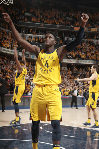 INDIANAPOLIS, IN - APRIL 20: Victor Oladipo #4 of the Indiana Pacers reacts against the Cleveland Cavaliers in Game Three of Round One of the 2018 NBA Playoffs on April 20, 2018 at Bankers Life Fieldhouse in Indianapolis, Indiana. (Photo by Ron Hoskins/NBAE via Getty Images)