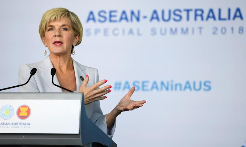 Julie Bishop at the Association of Southeast Asian Nations-Australia summit in Sydney on Saturday.