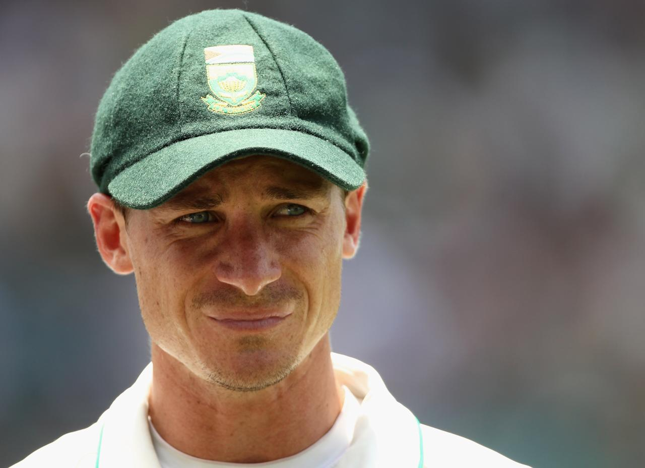 JOHANNESBURG, SOUTH AFRICA - JANUARY 17:  Dale Steyn of South Africa looks on following South Africa's victory over England during day four of the fourth test match between South Africa and England at The Wanderers Cricket Ground on January 17, 2010 in Johannesburg, South Africa.  (Photo by Paul Gilham/Getty Images)