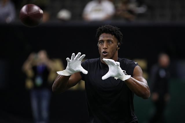 Michael Thomas is on pace to set the record for most catches in a season. The record is 143 by Marvin Harrison. Thomas would need 50 in his final six games to set the record. (Chris Graythen/Getty Images)