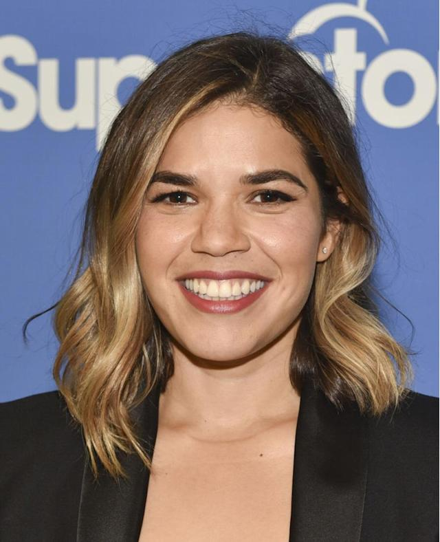 <p>The actress-activist was all aglow at an NBC event for the TV series <em>Superstore</em> wearing a wavy lob, full brows and a cinnamon lip color. (Photo by Rodin Eckenroth/Getty Images) </p>