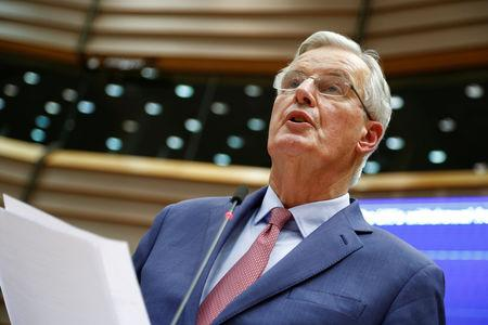 FILE PHOTO: European Union Chief Brexit Negotiator Michel Barnier speaks during a plenary session of the EU Parliament in Brussels, Belgium January 30, 2019. REUTERS/Francois Lenoir