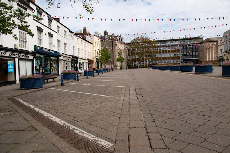 A near-deserted Warwick town centre as the UK continues in lockdown to help curb the spread of the coronavirus.
