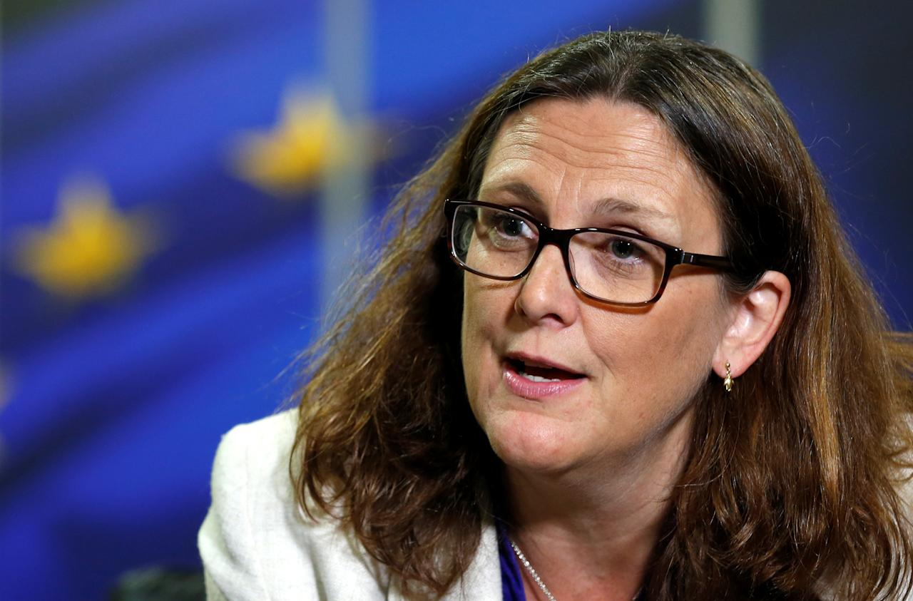 European Trade Commissioner Cecilia Malmstrom speaks during an interview with Reuters at the EU Commission headquarters in Brussels, Belgium, July 20, 2017.  REUTERS/Francois Lenoir