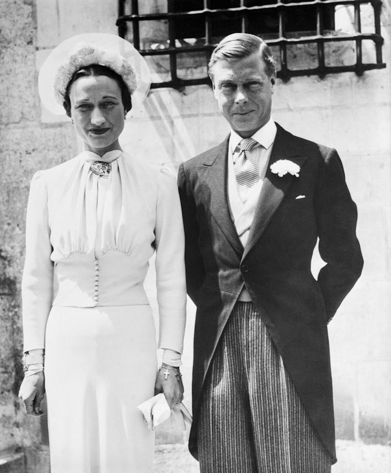 Shortly after his abdication in 1936, the pair were married in an intimate ceremony at Château de Candé in France. Photo: Getty Images
