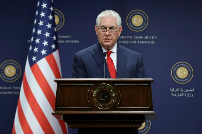 US Secretary of State Rex Tillerson speaks during a joint news conference with the Turkish Foreign Minister in Ankara, on March 30, 2017