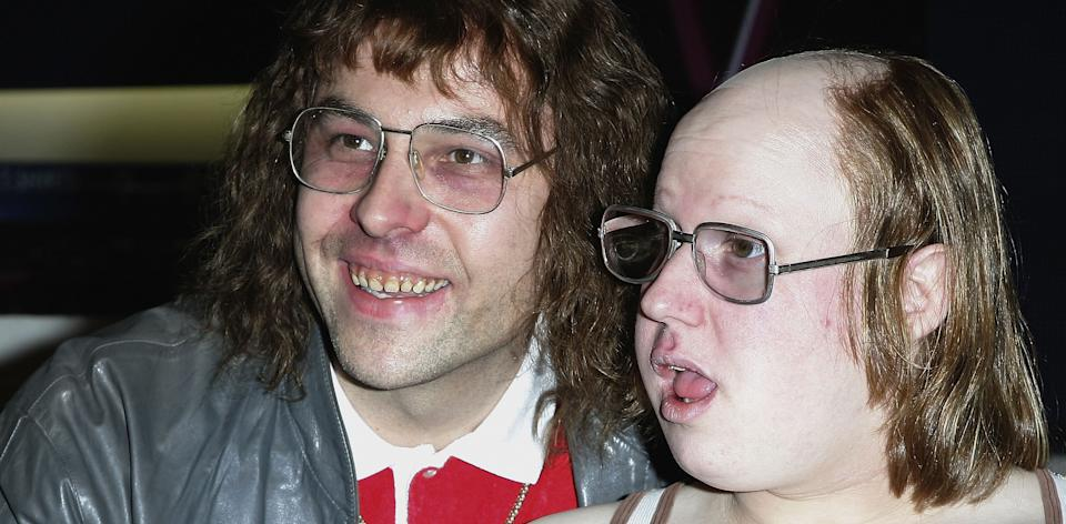 David Walliams and Matt Lucas pose as characters Lou and Andy at HMV on Oxford Street during their launch of the Little Britain Live DVD on November 13, 2006 in London.  (Photo by Gareth Cattermole/Getty Images)