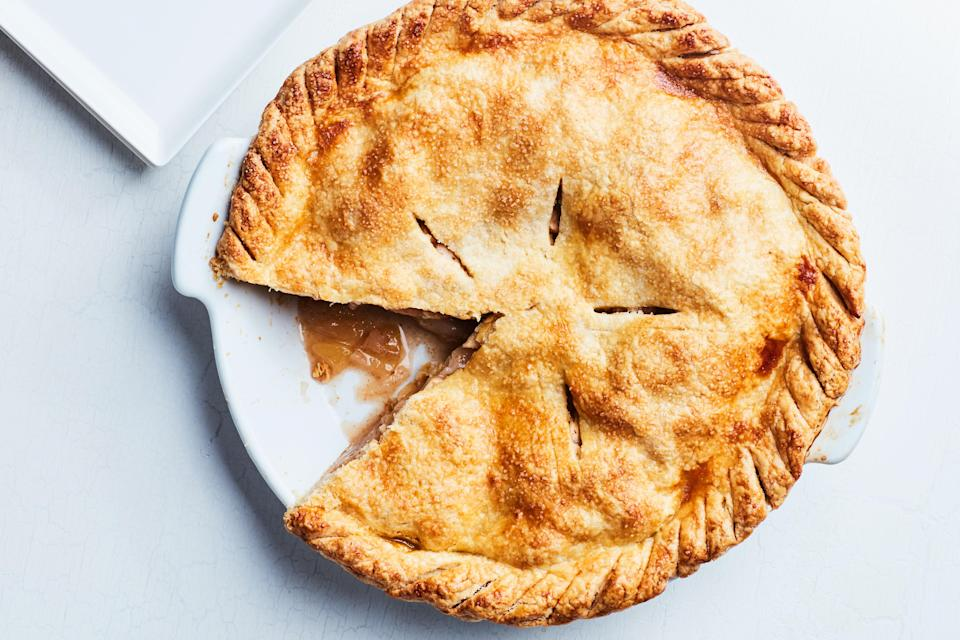 """This is the ultimate apple pie recipe. It's perfect combination of an all-butter flaky crust and tender (but not mushy) apples. <a href=""""https://www.epicurious.com/recipes/food/views/our-favorite-apple-pie-51248690?mbid=synd_yahoo_rss"""" rel=""""nofollow noopener"""" target=""""_blank"""" data-ylk=""""slk:See recipe."""" class=""""link rapid-noclick-resp"""">See recipe.</a>"""