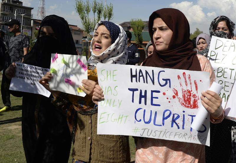 The crimes have shaken India in a way reminiscent of the fatal gang-rape of a Delhi student in 2012 (AFP Photo/TAUSEEF MUSTAFA)