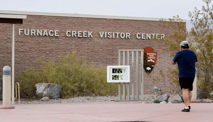The temperature gauge at the Furnace Creek Visitors Center in Death Valley in July.
