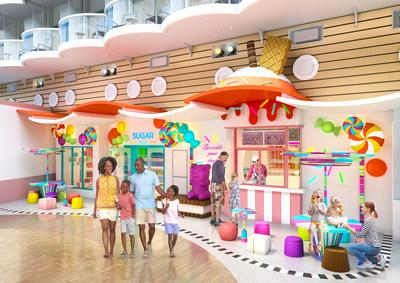Sugar Beach, with more than 220 types of candy and a new walkup ice cream window, will be the icing on the tasty lineup aboard the newly amplified Oasis of the Seas. Among the ship's 23 dining options are additions Playmakers Sports Bar & Arcade, Portside BBQ and El Loco Fresh, and returning favorites Chops Grille, Giovanni's Table and Izumi.