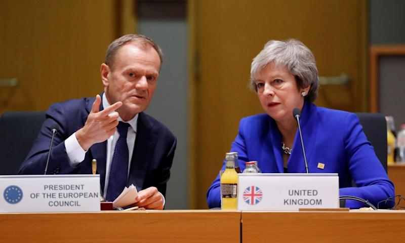 Theresa May with Donald Tusk during the EU leaders' summit to finalise the Brexit agreement in November.
