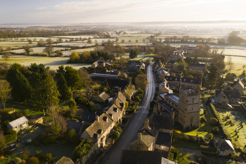Aerial view, Bourton on the Hill, Cotswold Hills, Cotswolds, UK. (Photo by: Matthew Williams-Ellis/Education Images/Universal Images Group via Getty Images)