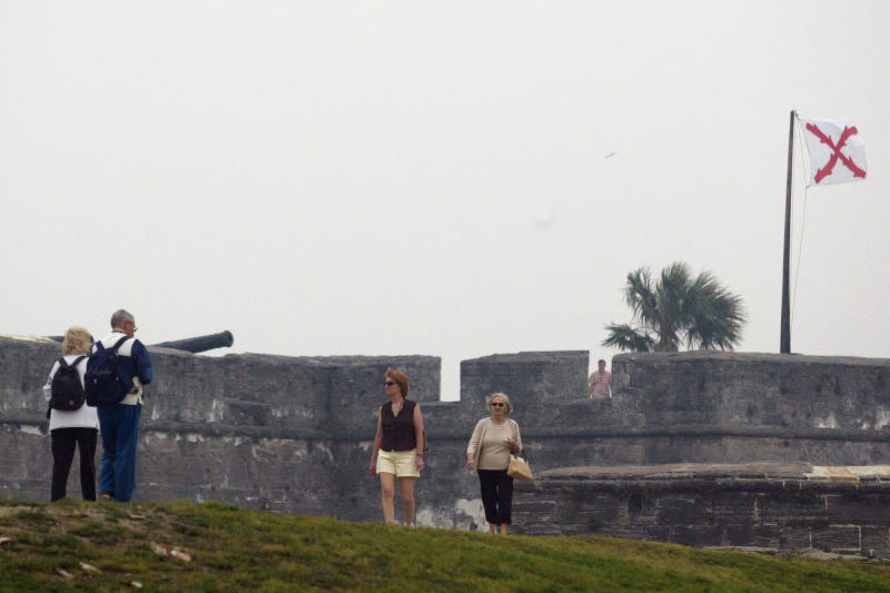 FILE - This May 9, 2007 file photo shows visitors touring the Castillo de San Marcos in St. Augustine, Fla. The Spanish built the Castillo de San Marcos, an imposing fort constructed of the stone coquina between 1672 and 1696. This year Florida is marking the 500th Anniversary since the explorer Ponce de Leon landed in Florida in April 1513, with a series of events related to the state's Spanish heritage and other aspects of its history. (AP Photo/Oscar Sosa, file)