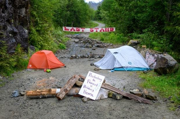 A blockade in the Fairy Creek watershed on Vancouver Island on Sunday May 30, 2021.