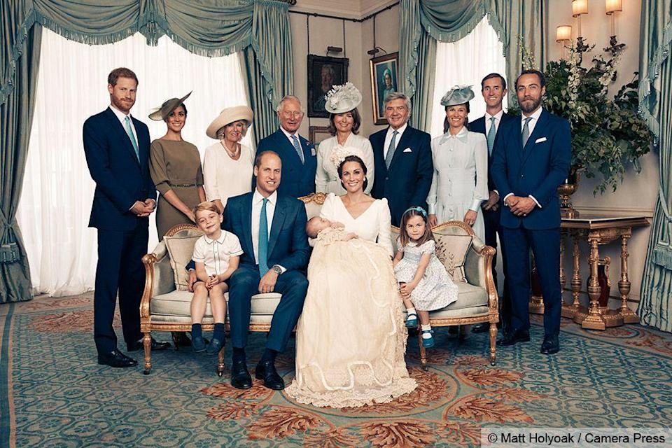 <p>Prince Louis with his mother, father, sister, and brother, and both sets of grandparents (Prince Charles and Camilla, Duchess of Cornwall and Michael and Carole Middleton) as well his Uncle Harry and Aunt Meghan, Uncle James Middleton (Kate's brother), and Aunt Pippa and her husband, James Matthews (Louis's other Uncle James).</p>