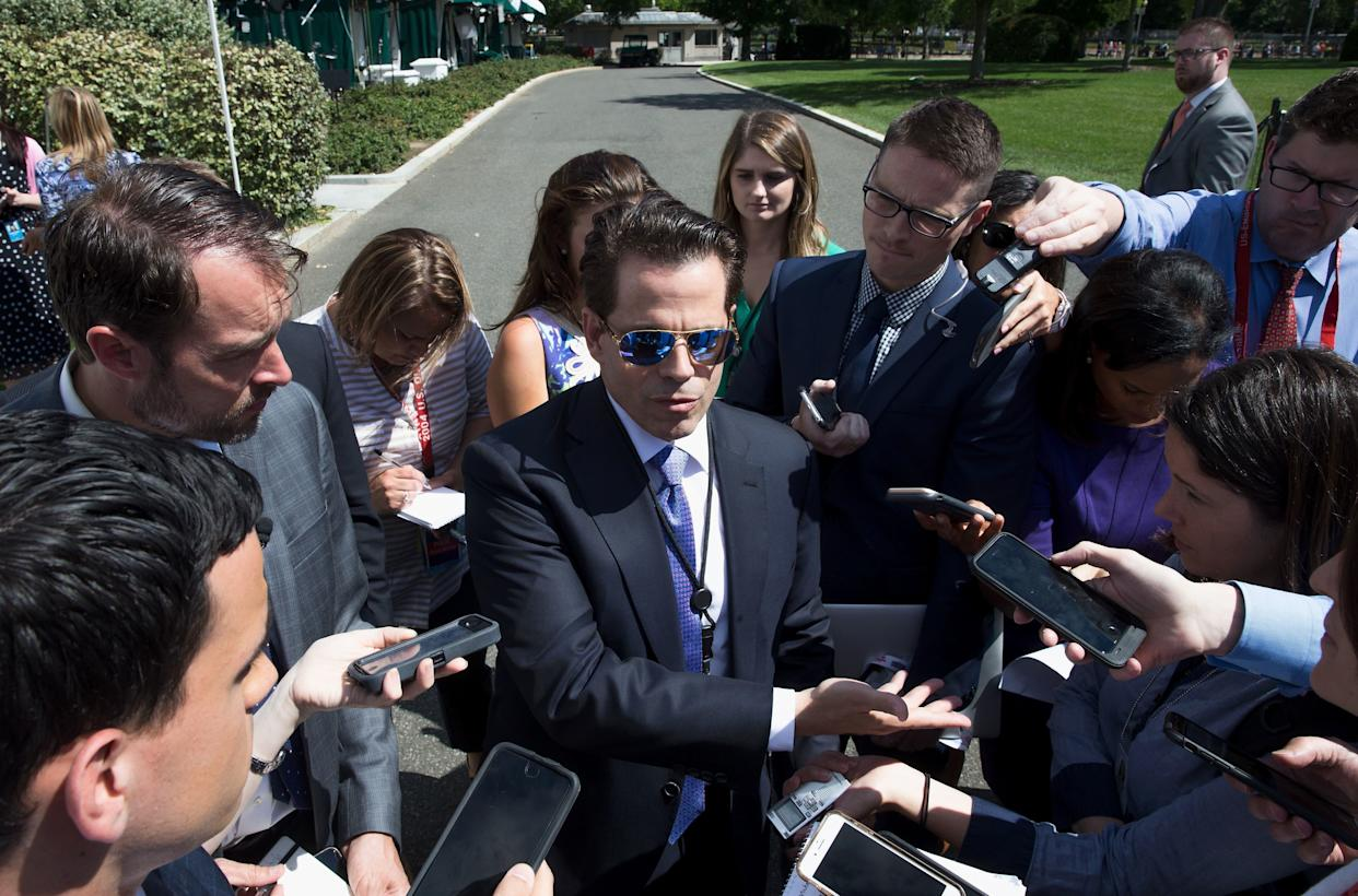Scaramucci talks with the media outside the White House on July 25, 2017.