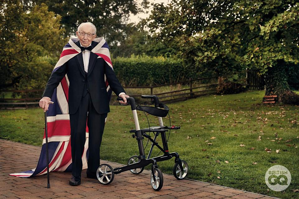 Captain Sir Tom Moore in British GQ magazine (Gavin Bond)