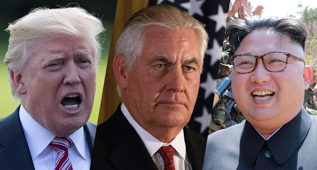 President Trump, Secretary of State Rex Tillerson and North Korean leader Kim Jong Un. (Photos: AP/Getty)