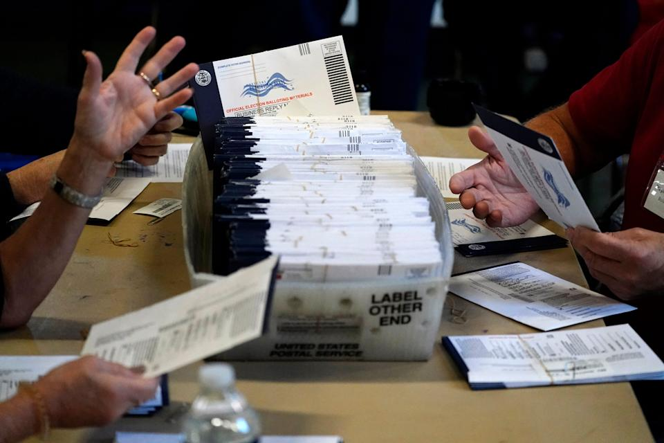 Workers process mail-in and absentee ballots on Nov. 4 in West Chester, Pa.