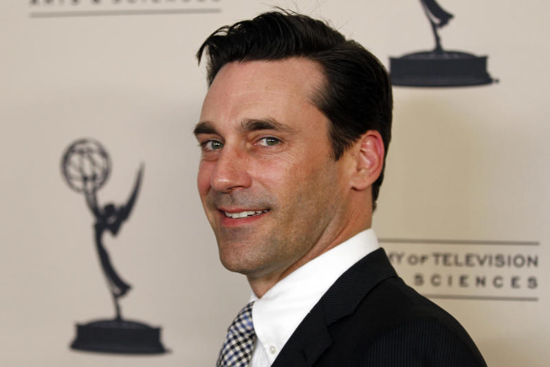"""Actor Jon Hamm from the AMC series """"Mad Men,"""" arrives at Academy of Television Arts and Sciences Producers Peer Group celebration of the 63rd Primetime Emmy Awards in Los Angeles, Monday, Sept. 12, 2011.  The Emmy Awards  will take place Sunday, Sept. 18 in Los Angeles. (AP Photo/Matt Sayles)"""