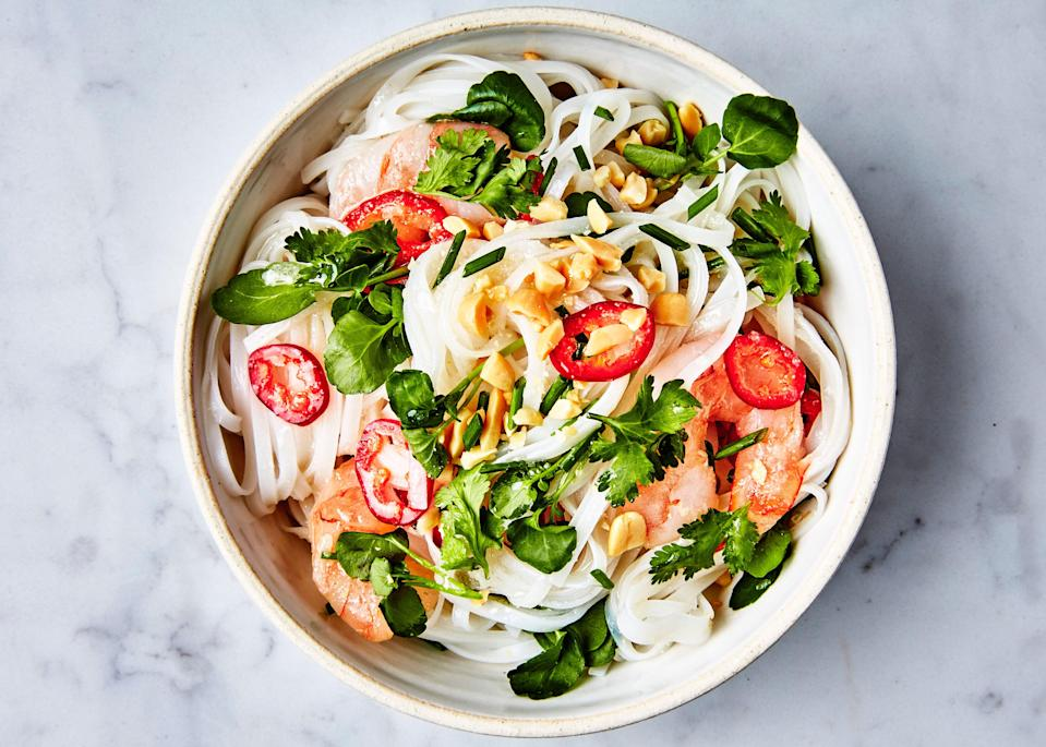"This colorful cold noodle salad is infinitely riffable. Check out <a href=""http://www.bonappetit.com/recipe/ramen-with-steak-and-sesame-ginger-dressing?mbid=synd_yahoo_rss"" rel=""nofollow noopener"" target=""_blank"" data-ylk=""slk:Ramen with Steak and Sesame-Ginger Dressing"" class=""link rapid-noclick-resp"">Ramen with Steak and Sesame-Ginger Dressing</a>, <a href=""http://www.bonappetit.com/recipe/udon-with-chicken-and-garlicky-peanut-dressing?mbid=synd_yahoo_rss"" rel=""nofollow noopener"" target=""_blank"" data-ylk=""slk:Udon with Chicken and Garlicky Peanut Dressing"" class=""link rapid-noclick-resp"">Udon with Chicken and Garlicky Peanut Dressing</a>, and <a href=""http://www.bonappetit.com/recipe/soba-with-tofu-and-miso-mustard-dressing?mbid=synd_yahoo_rss"" rel=""nofollow noopener"" target=""_blank"" data-ylk=""slk:Soba with Tofu and Miso-Mustard Dressing"" class=""link rapid-noclick-resp"">Soba with Tofu and Miso-Mustard Dressing</a> for even more ideas. <a href=""https://www.bonappetit.com/recipe/rice-noodles-with-shrimp-and-coconut-lime-dressing?mbid=synd_yahoo_rss"" rel=""nofollow noopener"" target=""_blank"" data-ylk=""slk:See recipe."" class=""link rapid-noclick-resp"">See recipe.</a>"