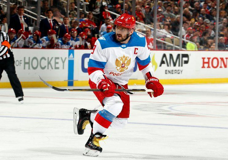 PITTSBURGH, PA - SEPTEMBER 14: Alex Ovechkin #8 of Team Russia skates against the Team Canada at Consol Energy Center on September 14, 2016 in Pittsburgh, Pennsylvania. (Photo by Gregory Shamus/World Cup of Hockey via Getty Images)