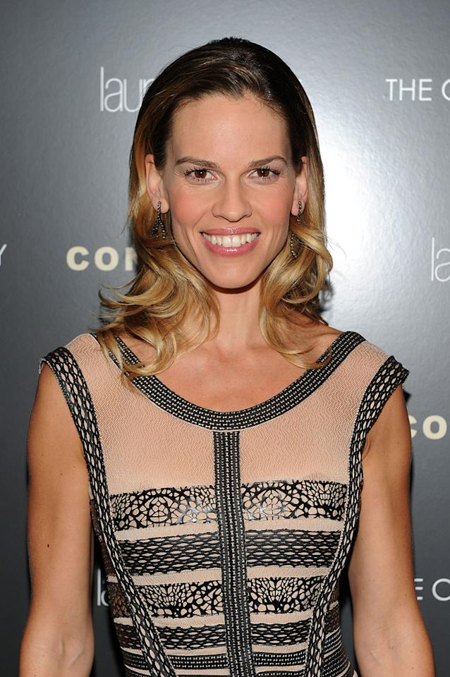 """<a href=""""http://movies.yahoo.com/movie/contributor/1800020739"""">Hilary Swank</a> at the New York Cinema Society screening of <a href=""""http://movies.yahoo.com/movie/1810071450/info"""">Conviction</a> on October 12, 2010."""