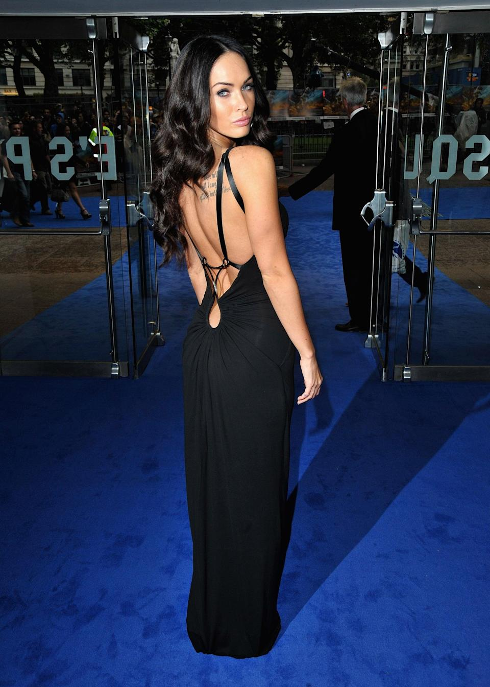 <p>For the <b>Transformers: Revenge of the Fallen</b> premiere in London, Megan wore a Kaufman Franco gown with a plunging back. </p>