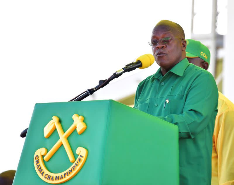 FILE PHOTO: Tanzania's President John Magufuli addresses his supporters during his Presidential campaign rally at the Tanganyika Parkers Grounds in Kawe in Dar es Salaam