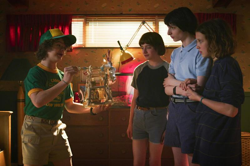Gaten Matarazzo, Noah Schnapp, Finn Wolfhard, and Millie Bobby Brown in season three of 'Stranger Things': Courtesy of Netflix