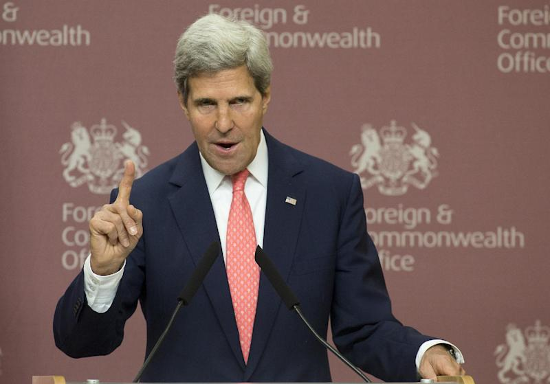 In this Sept. 9, 2013, photo, Secretary of State John Kerry gestures during a press conference with Britain Foreign Secretary William Hague at Foreign Office in London. Until recent days Kerry has been the Obama administration point person in arguing that Syria's alleged use of chemical weapons justifies a U.S. attack. But now President Barack Obama is grasping all his tools of persuasion in trying to turn around public opinion and rally congressional support for a strike against Syria. He's got tricky ground to cover in his Oval Office address Tuesday night and acknowledged on the eve of it that Americans don't back his course. (AP Photo/Alastair Grant,Pool)