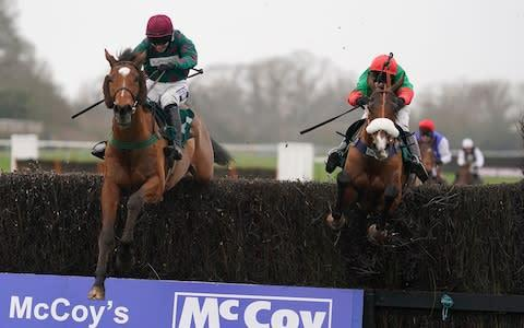 <span>Two For Gold (right) rallied at the end to win the McCoy Contractors Novice Chase </span> <span>Credit: Getty Images </span>