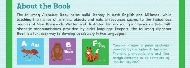 The book features a series of animals representing each letter of the alphabet, along with the Mi'kmaq translation of each animal.