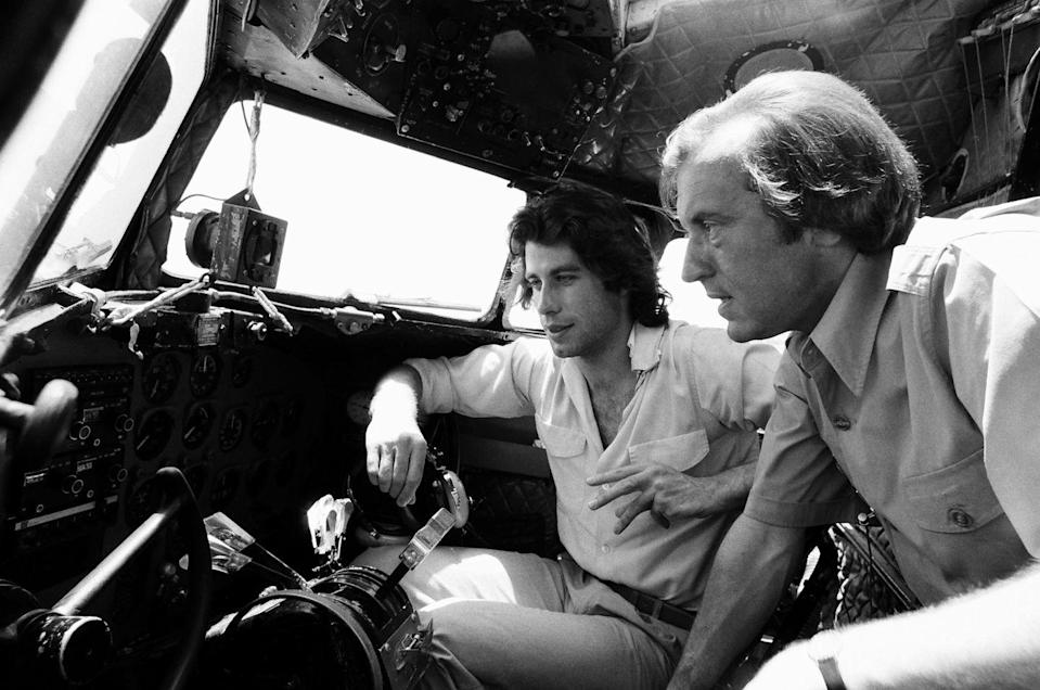 <p>John Travolta shows off his private jet for an interview with David Frost in 1978. </p>