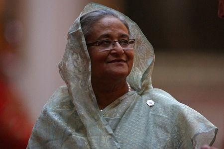 Prime Minister of Bangladesh Sheikh Hasina arrives to attend The Queen's Dinner during The Commonwealth Heads of Government Meeting (CHOGM), at Buckingham Palace in London