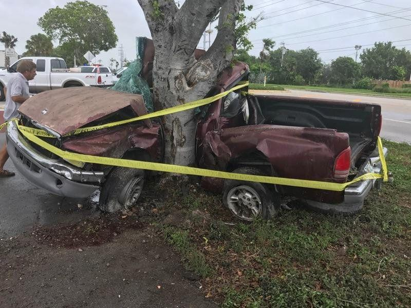 A man died when his pickup truck crashed into a tree in the Florida Keys.