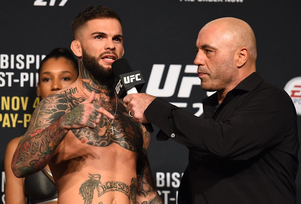 Rogan, who has also done UFC commentating, interviews Cody Garbrandt Madison Square Garden in 2017. (Photo: Josh Hedges via Getty Images)