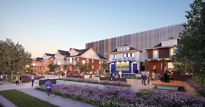 A rendering of the Motown Museum Plaza at the original Hitsville headquarters in Detroit, scheduled for completion in summer 2022.