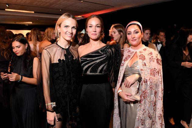 MILAN, ITALY - SEPTEMBER 21: Carolina Neri, Johanna Hauksdottir and a guest attend the amfAR Gala Milano 2019 at Palazzo Mezzanotte on September 21, 2019 in Milan, Italy. (Photo by Ryan Emberley/amfAR/Getty Images for amfAR)