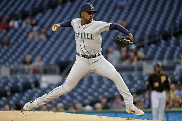 Seattle Mariners starting pitcher Justin Dunn delivers during the first inning of the team's baseball game against the Pittsburgh Pirates in Pittsburgh, Wednesday, Sept. 18, 2019. (AP Photo/Gene J. Puskar)