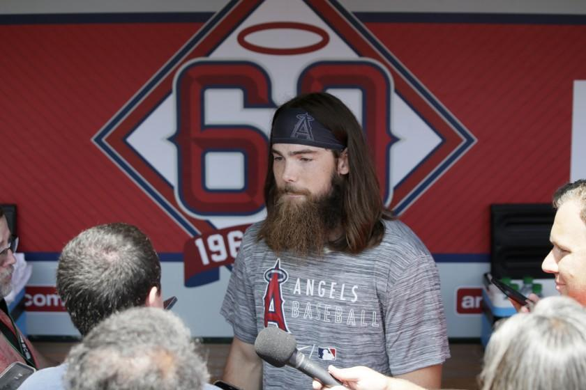 Los Angeles Angels' Brandon Marsh talks with the media before his debut game against the Seattle Mariners before a baseball game in Anaheim, Calif., Sunday, July 18, 2021. (AP Photo/Alex Gallardo)