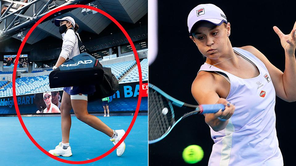 Pictured here, Ash Barty played at an empty Margaret Court Arena on Saturday night.
